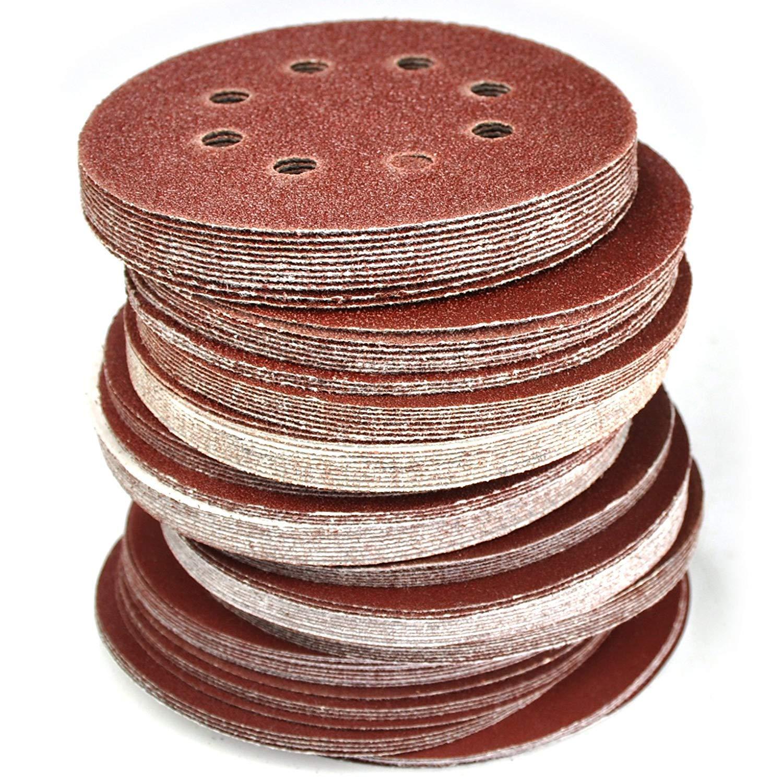 Gocheer 100pcs Schleifpapier 125mm klett- Schleifscheiben Klett,für Exzenterschleifer 8 Loch,Ø125mm,je 20 Stück mit Den Körnungen 80/120/150/180/240 für Holz Holzwerkstoffe Spanplatte Metall