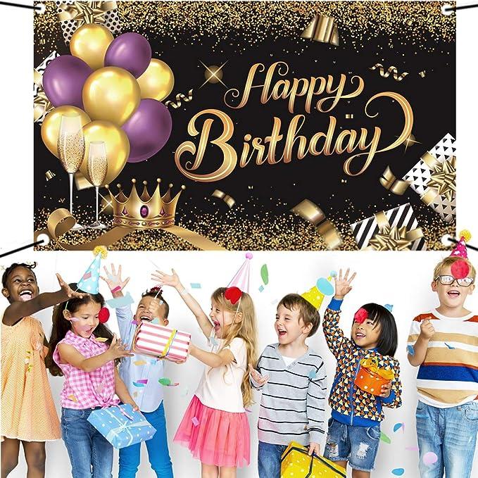 Banni/ère en toile de fond pour anniversaire en tissu noir dor/é avec inscription /« Happy Birthday /»