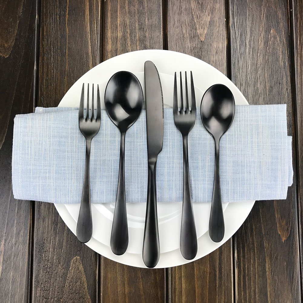 Amazon.com | Black Silverware Set, AOOSY 1 Set 18/10 Stainless Steel ...