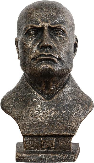 Busto di mussolini dux in ghisa finitura bronzata anticata 19x22x33 cm G0779