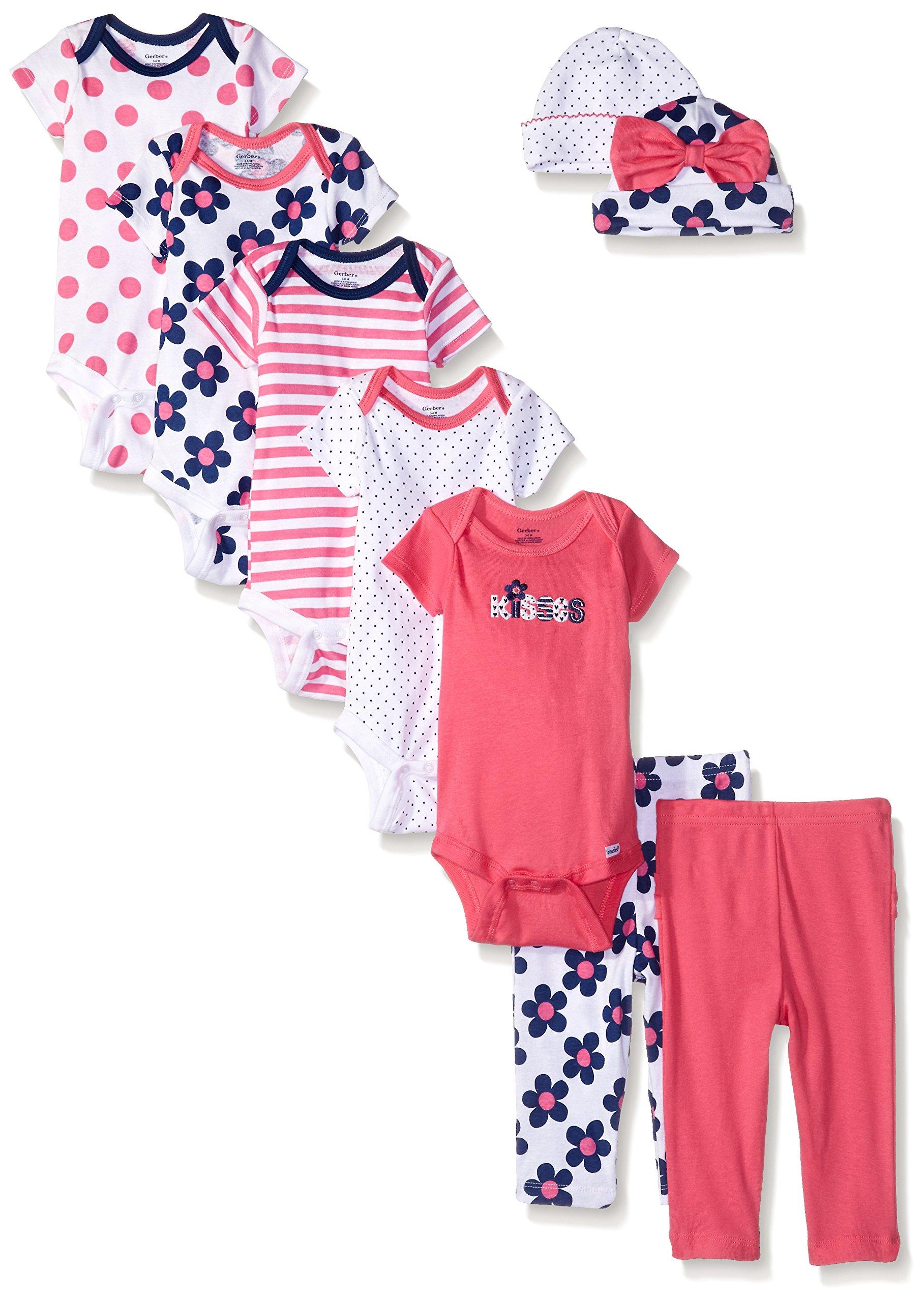 Gerber Baby 9 Piece Playwear Gift Set, Flower, 3-6 Months