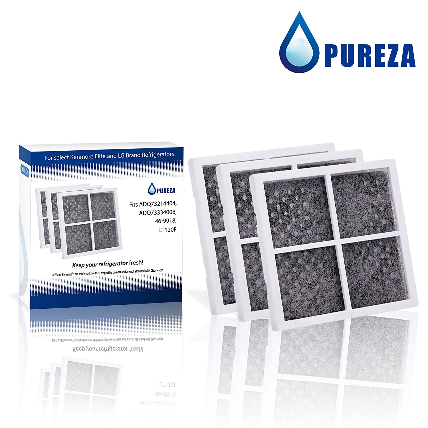 Replacement for LG LT120F, Kenmore 469918 Air Filter Compatible with ADQ73214402, ADQ73214403, ADQ73214404, 46-9918, 9918 Refrigerator Air Filter by Pureza, Pack of 3