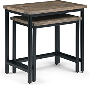 Simpli Home Skyler Solid Mango Wood and Metal 25 inch wide Rectangle Industrial 2 Pc Nesting Side Table in Beach Brown, Fully Assembled, for the Living Room and Bedroom