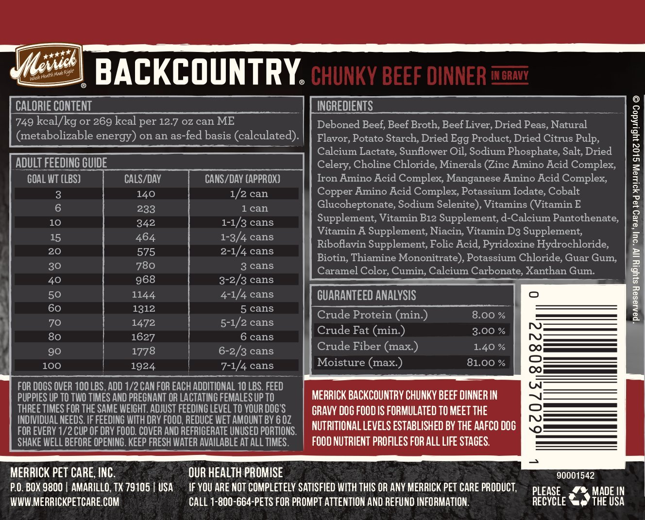Merrick Backcountry Grain Free Wet Dog Food, 12.7 Oz, 12 Count Chunky Beef