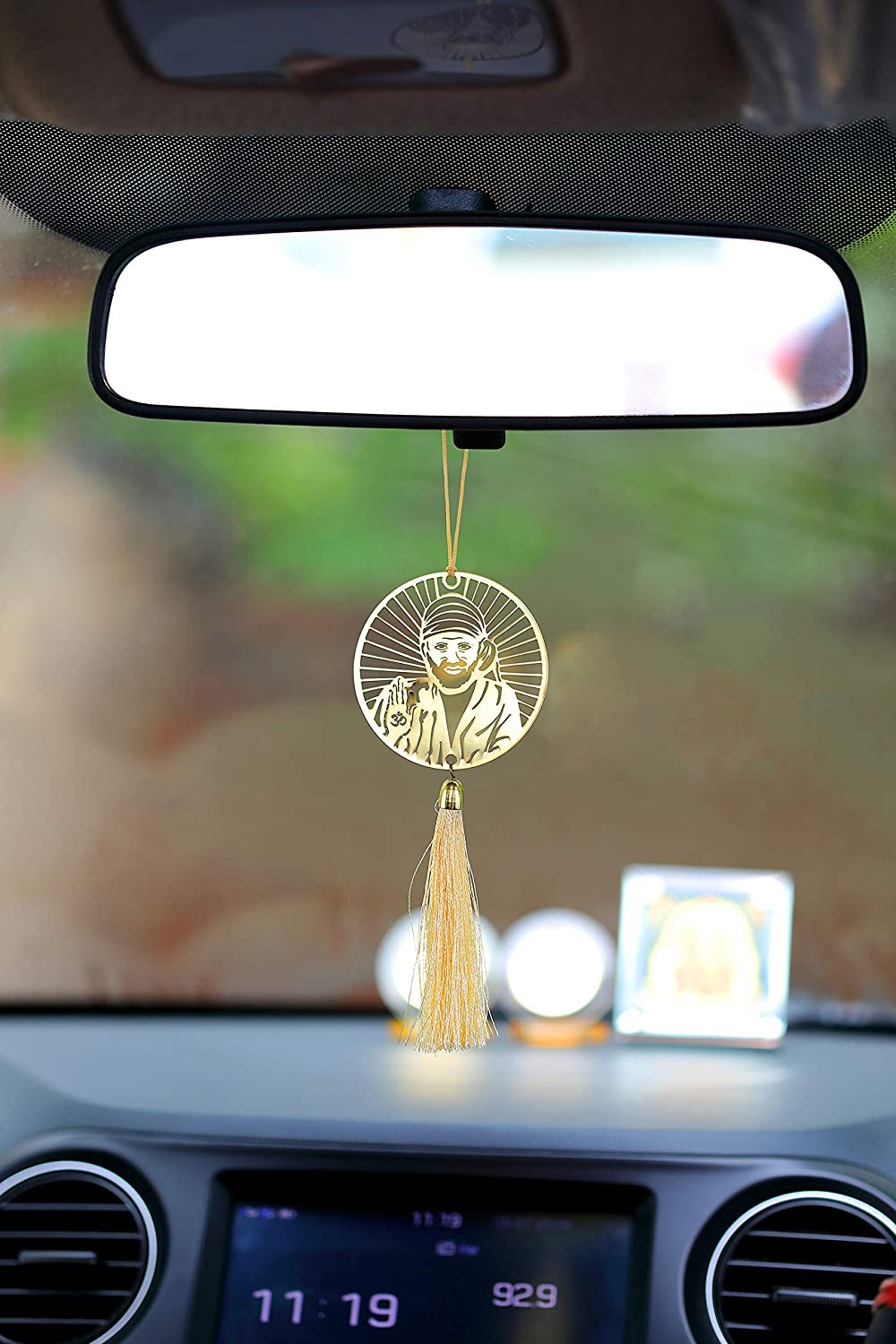 Rear View Mirror Car Hanging Ornament//Perfect Car Charm Pendant//Amulet Accessories for Car D/écor in Brass for Divine Blessings /& Safety//Protection ADORAA Shirdi Sai Baba//Om Sai Ram