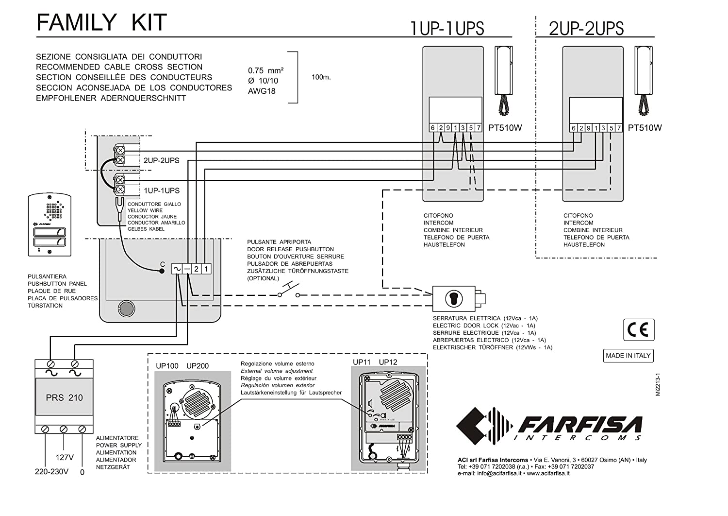 81VvKBixesL._SL1500_ amazon com o9n farfisa 1ups door entry audio intercom 2 way farfisa door entry wiring diagrams at cita.asia