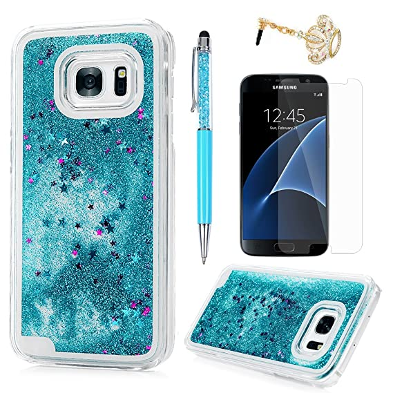 best authentic 21707 33e3b S7 Case, Samsung Galaxy S7 Case - Flowing Liquid Floating Bling Glitter  Sparkle Stars Hard PC Cover Cute Creative Design Lightweight Ultra Slim ...