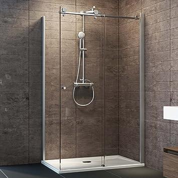Schulte Dusche Schiebetür Grande Seitenwand Links, 120x90 Cm, 200 Cm, 8 Mm  Sicherheitsglas