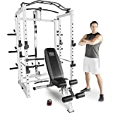 Marcy Pro Deluxe Folding Total Body Home Gym Cage Power Rack System with Bench