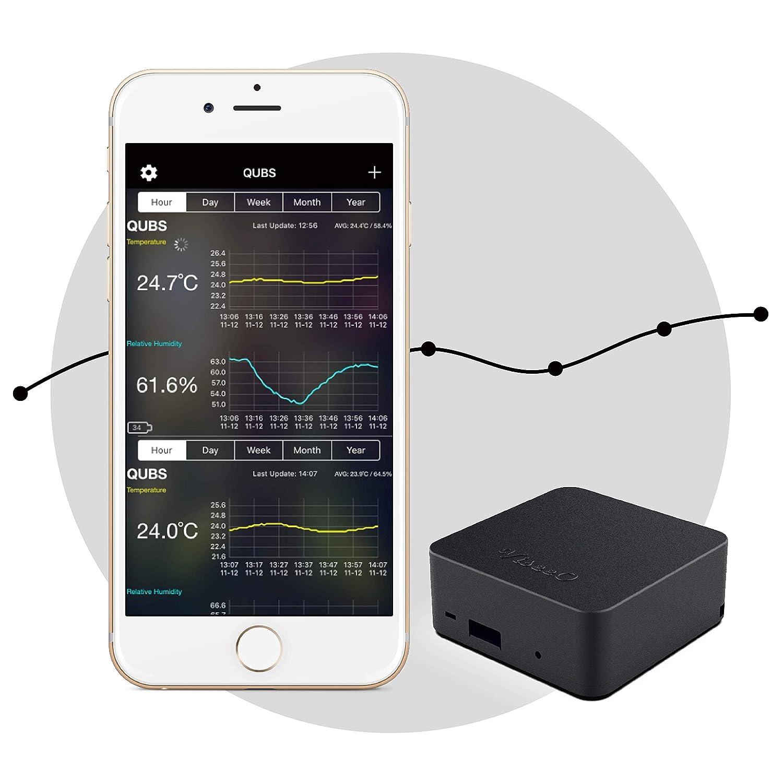 ViseeO QUBS Smart Temperature /& Humidity Data Logger Black
