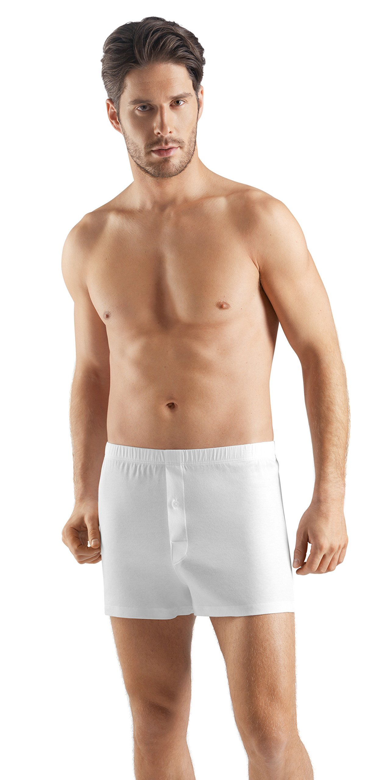 Hanro Men's Sea Island Cotton Boxer 73172, White, X-Large