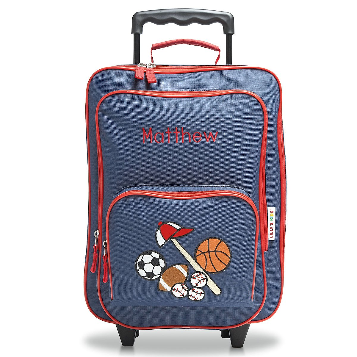 Personalized Rolling Luggage for Kids - All Sports Design, 4.5'' x 12'' x 16.75''H, By Lillian Vernon