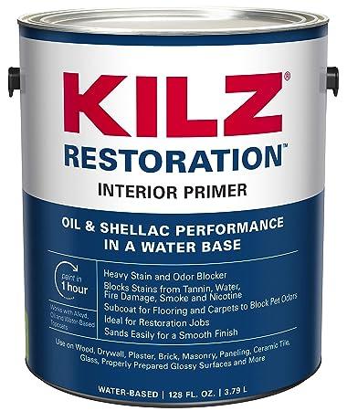 6f5afd09240e Amazon.com: KILZ Restoration Maximum Stain and Odor Blocking Interior Latex  Primer/Sealer, White, 1-gallon: Home Improvement