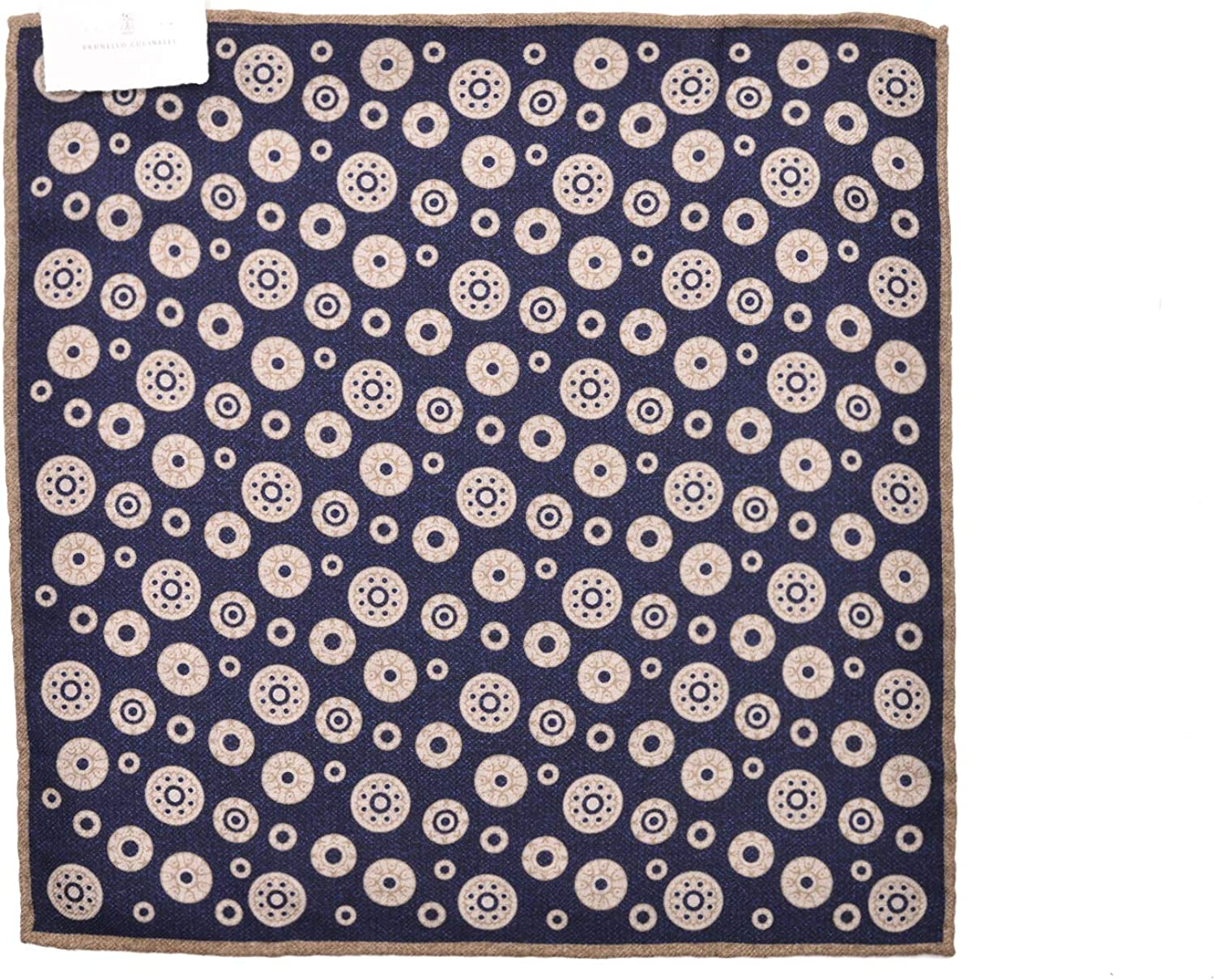 Brunello Cucinelli Mens Wool Black Paisley Pocket Square One Size~Retail$225