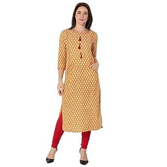 Gulmohar Jaipur Women's Cotton Straight Kurti (Mustard) Kurtas at amazon