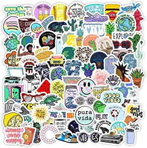 New Vsco Girl Stickers for Hydro Flask[100pcs] Cute Mini Aesthetic Design for Laptop Phone Case Water Bottle Tumbler Cup Folder Bike Computer PC Helmet Car Luggage Skateboard Snowboard, Kids Teen Gift