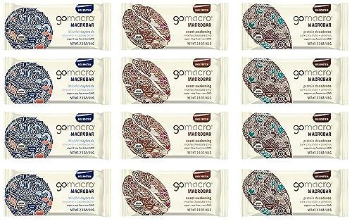 GoMacro Macrobar Organic Vegan Protein Bar, 12 Variety Bars 2.3oz - 4 Blueberry Cashew Butter, 4 Dark Chocolate Almonds, 4-Mocha Chocolate Chip