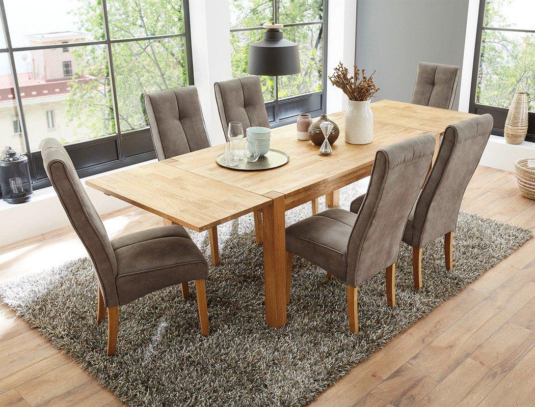 Tischgruppe Esstisch Crispo Eiche massiv + 6 Stühle Andrea hellbraun ...