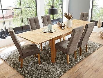 Tischgruppe Esstisch Crispo Eiche Massiv 6 Stuhle Andrea Hellbraun