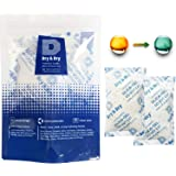Dry & Dry 100 Gram [3-200 Packs] Silica Gel Food Safe Orange Indicating(Orange to Dark Green) Mixed Silica Gel Packets Desicc