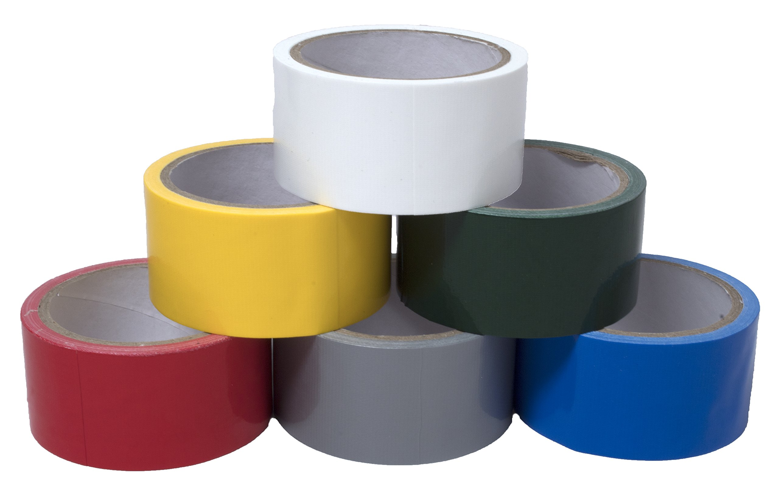 6 Pack Duct Tape Red White Blue Grey Yellow Green Multipurpose Tape Crafts Repairs Organization Decorating 1.8'' x 10 Yards per Roll