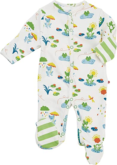 Soft Organic Cotton Piccalilly Cute Baby Sleepsuit with Feet Jumping Frog Print