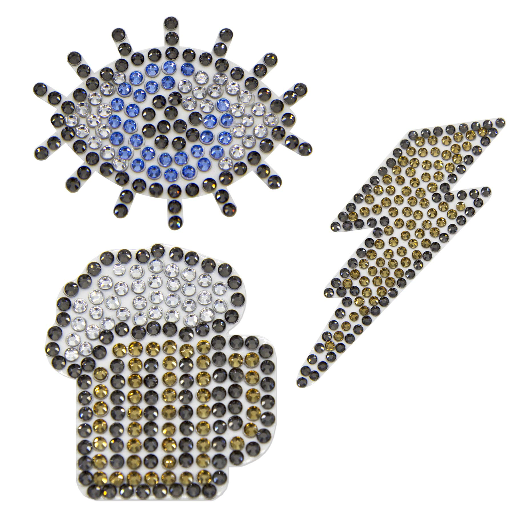 CRYART Crystal Patch, Sticker, Decoration, Transparent Sheet, Flat Back Crystal (Draft Beer, 2x2.3 inch, Medium/Pupil, 2.5x2 inch, Medium/Lightning, 2x2.1 inch, Small)