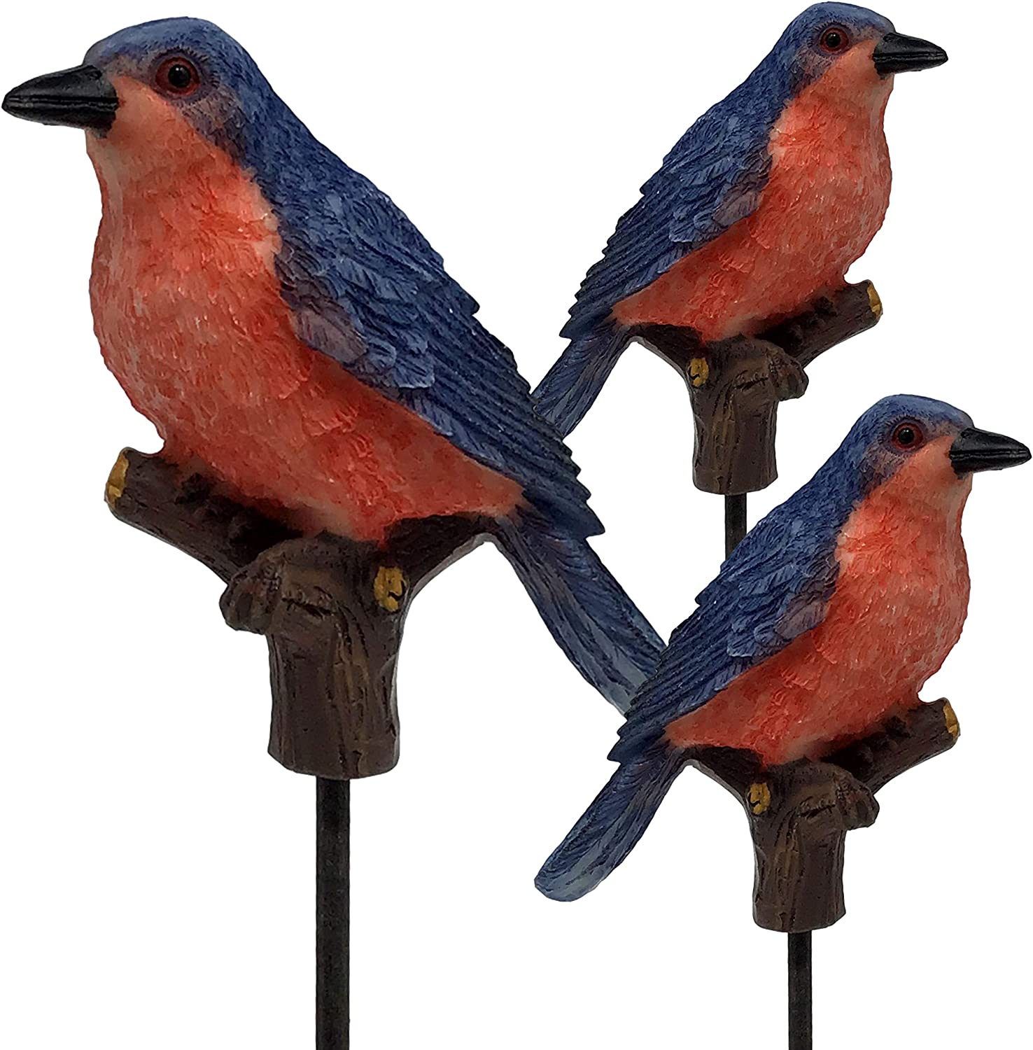 BANBERRY DESIGNS Blue Bird Garden Stakes - Set of 3 Bluebird Yard Décor Bird Statues - Welcoming Plant Stake with Hand Painted Birds Attached - Stands Approx. 10 Inches Tall
