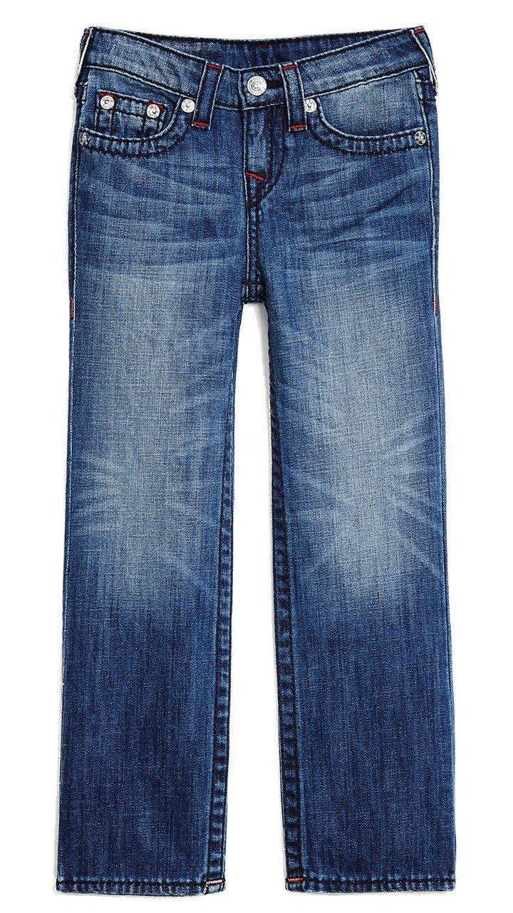 True Religion Kids Boys Straight Fit Big T Flap Pocket Jeans in Blue Collar (10, Blue Collar)