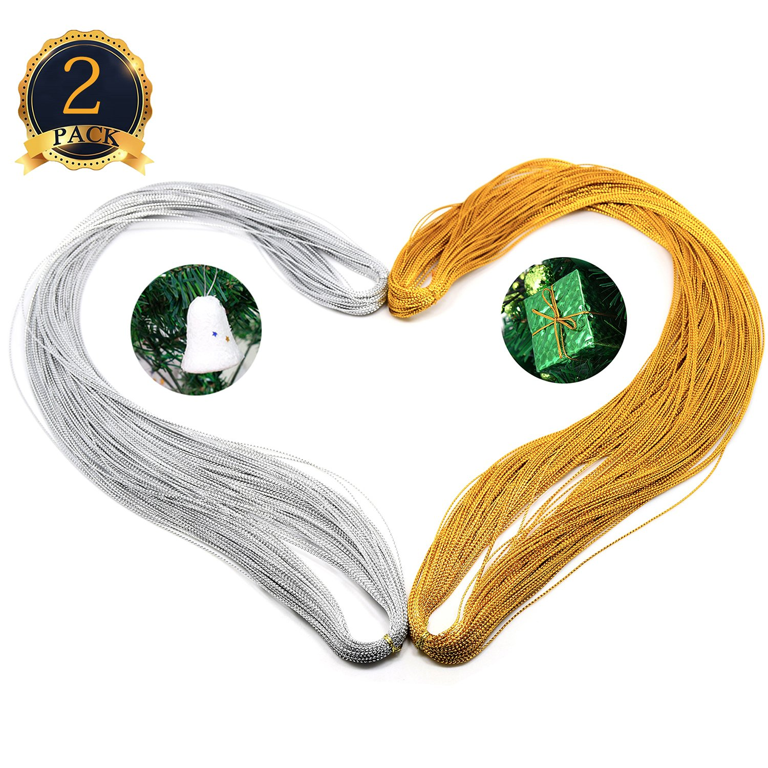 Metallic Cord Jewelry Thread Craft String Tag String Lift Cord for Jewelry and Craft Making Hanging Floss For Gift Wrapping Packaging ,2 Packx328 Feet, Golden and Silver COMEMAKA