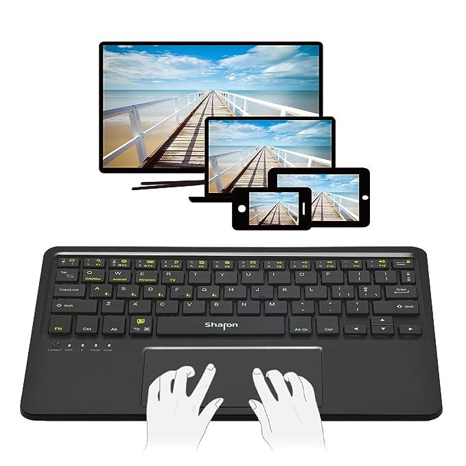 Teclado 4 en 1 Bluetooth para Smart TV Tablet Smartphone | Uso con 5 dispositivos al mismo tiempo | Android, iOS/Mac OS X, Windows 8 & 10 | Teclado ...