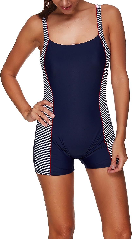 XFentech Ladies Bikini Strap Sports Boyleg One-Piece Swimsuit