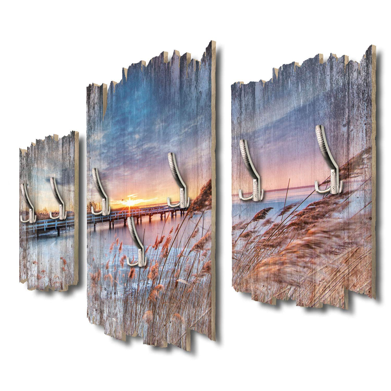 Kreative Feder Steg am SeeDesigner Wandgarderobe Flurgarderobe Wandpaneele 95 x 60 cm aus MDF DTGH120