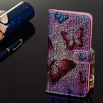 WIWJ Coque pour Samsung Galaxy S10 Plus Glitter Case 3D Peint PU Cuir Flip Cover Wallet Phone Case Papillon Bleu