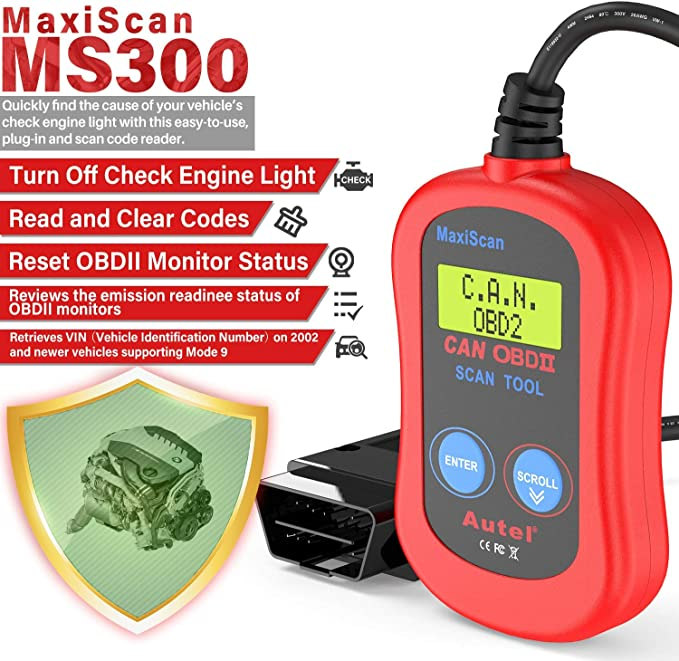 Autel MS300 Universale OBD2 Auto Diagnostica Lettore di Codici di Errore Scanner per Auto Versione Inglese