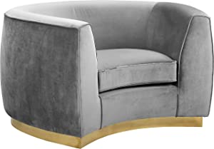 Meridian Furniture Julian Collection Modern | Contemporary Velvet Upholstered Chair with Stainless Steel Base in Rich Gold Finish, Grey, 49
