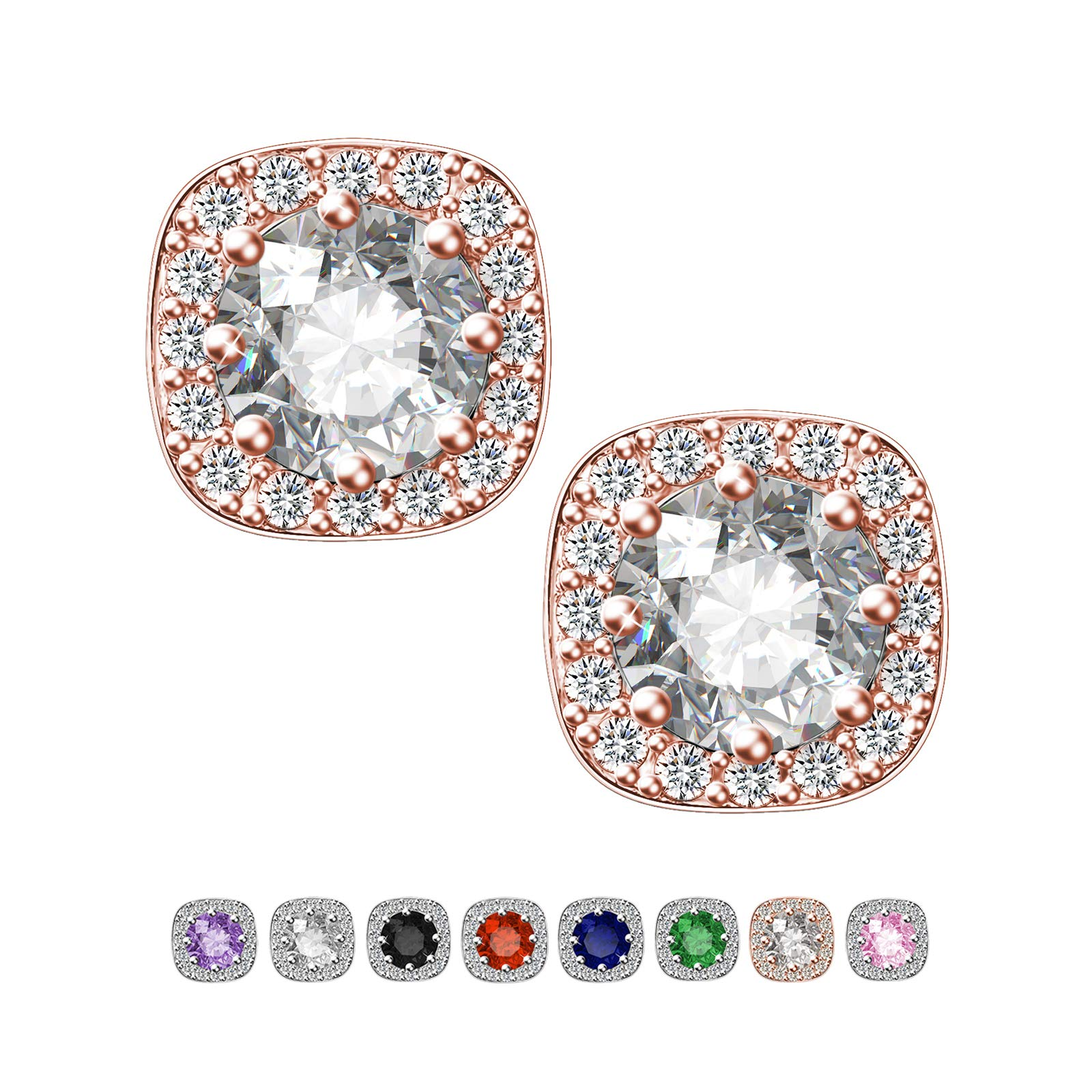 SWEETV Rose Gold Bridesmaid Earrings Studs for Women Fashion- Halo Cubic Zirconia Stud Earrings for Wedding, Bridal,Prom,Jewelry Gifts