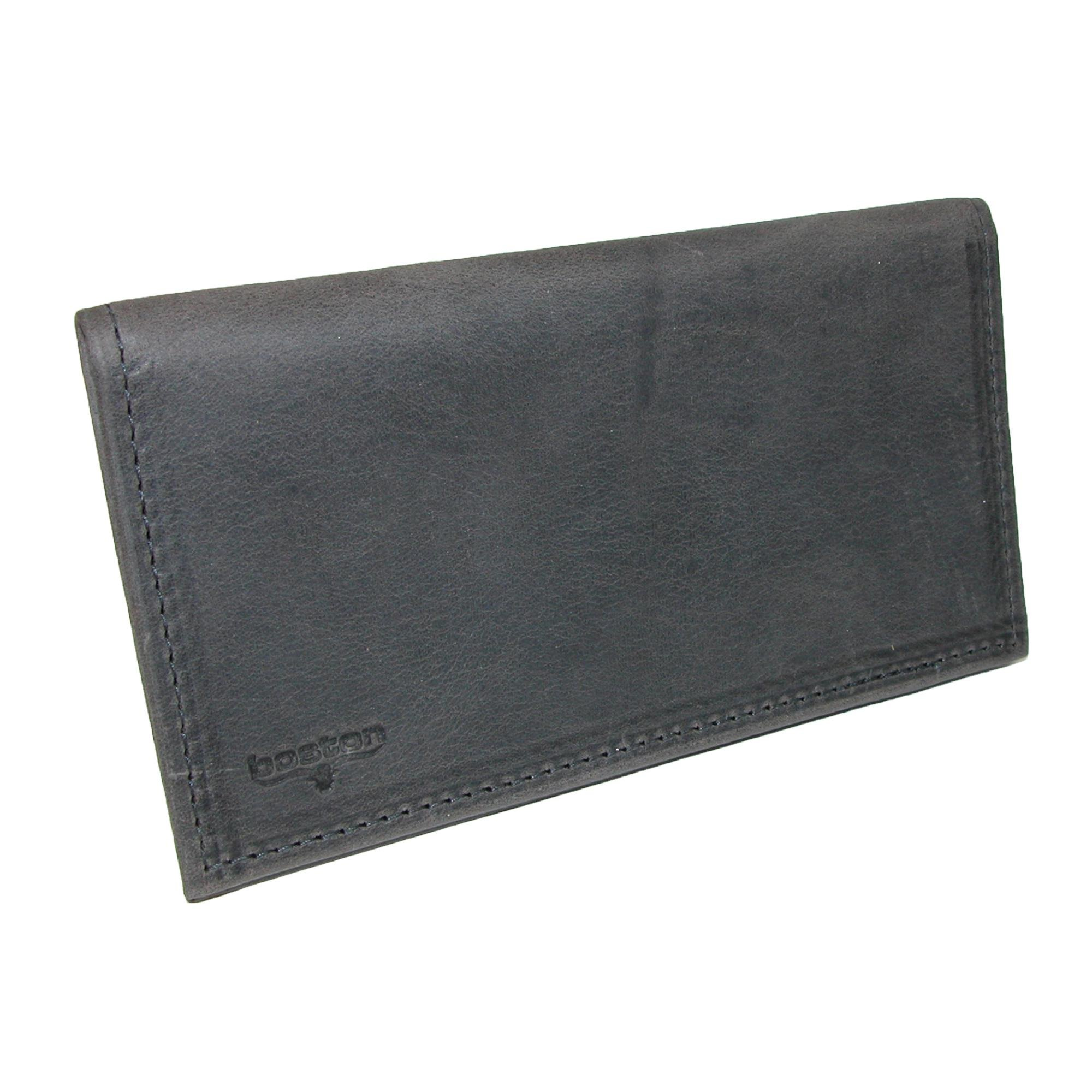 Boston Leather Distressed Leather Checkbook Cover, Dark Grey