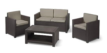 Amazon.de: Allibert Lounge-Set Monaco 4tlg, braun/taupe
