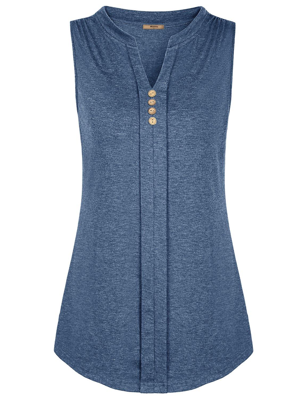 Miusey Women Tunic Tank Tops Kint V Neck Front Pleated Sleeveless Split Mandarin Collar Blouse Summer Worn with Jeans Light Henley Style Flexible Aesthetic Relaxed Summer Blue 2XL