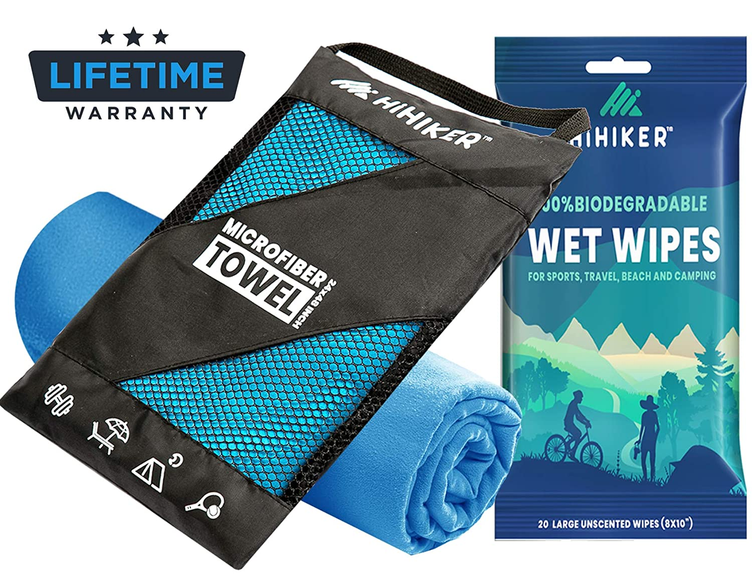 HiHiker Microfiber Camping Towel + Biodegradable Outdoor Wipes - Compact Towel Quick Dry & Lightweight for Gym, Travel, Swimming, Beach and Backpacking