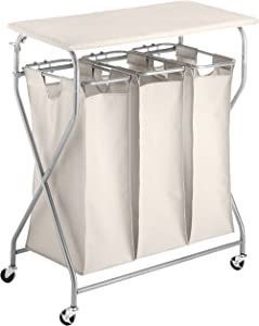 Whitmor Easy-Lift Triple Folding Table Laundry Sorter, W, Tan