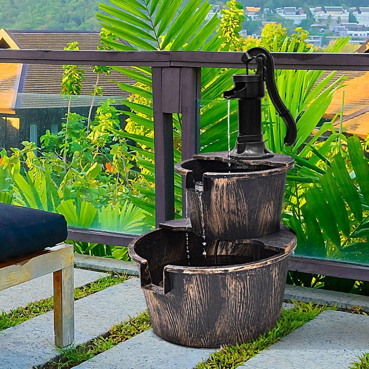 Amazon.com: Giantex - Fuente de agua de madera rústica con ...