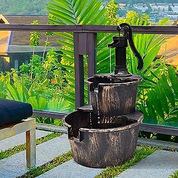 Giantex Fuente de agua de barril de madera rústica con bomba de 2 niveles, fuente independiente para jardín al aire libre, patio, patio, uso decorativo: Amazon.es: Jardín