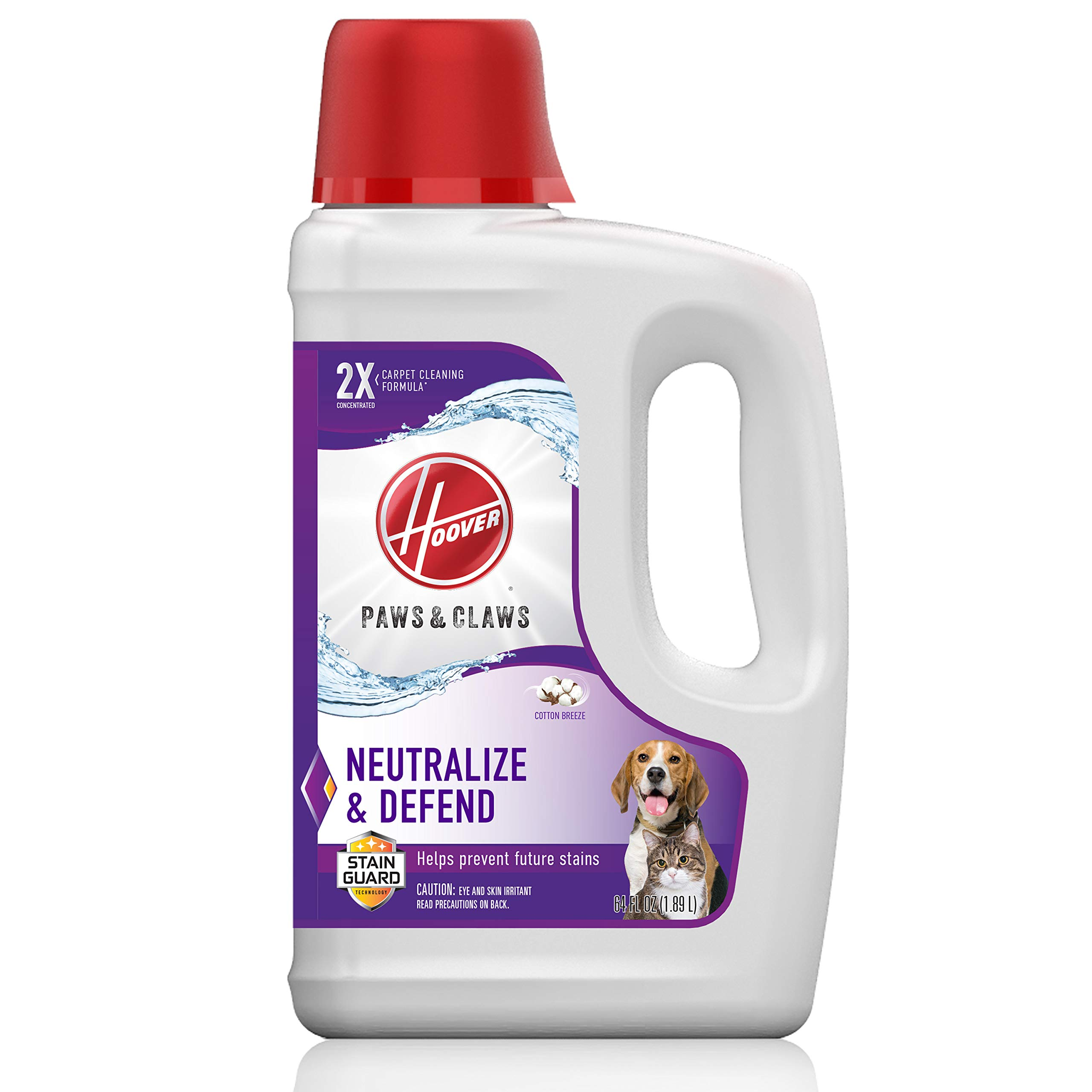 Hoover Paws & Claws Deep Cleaning Carpet Shampoo with Stainguard, Concentrated Machine Cleaner Solution for Pets, 64oz Formula, AH30925, White by Hoover (Image #1)