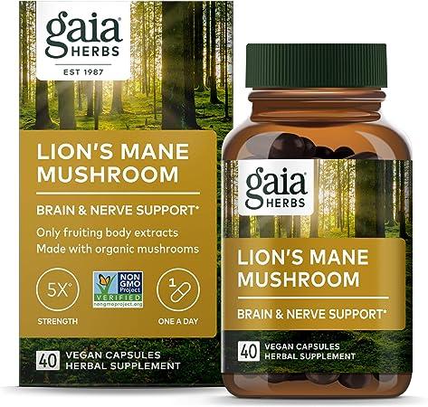 Gaia Herbs Lion's Mane Mushroom, 40-Count ,Lion's Mane Mushroom