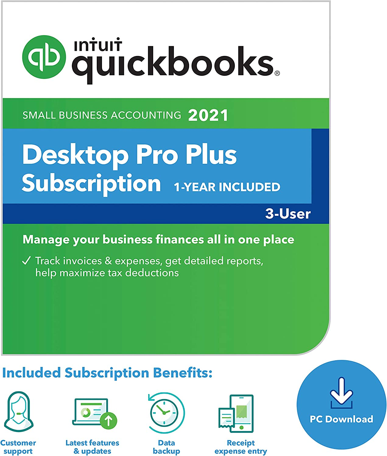 QuickBooks Desktop Pro Plus 2021 Accounting Software for Small Business 1-Year Subscription - 3 user [PC Download code]