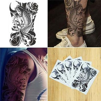 COKOHAPPY 5 hoja Temporales Tatuaje Destello Tatuaje Koi Pescado ...