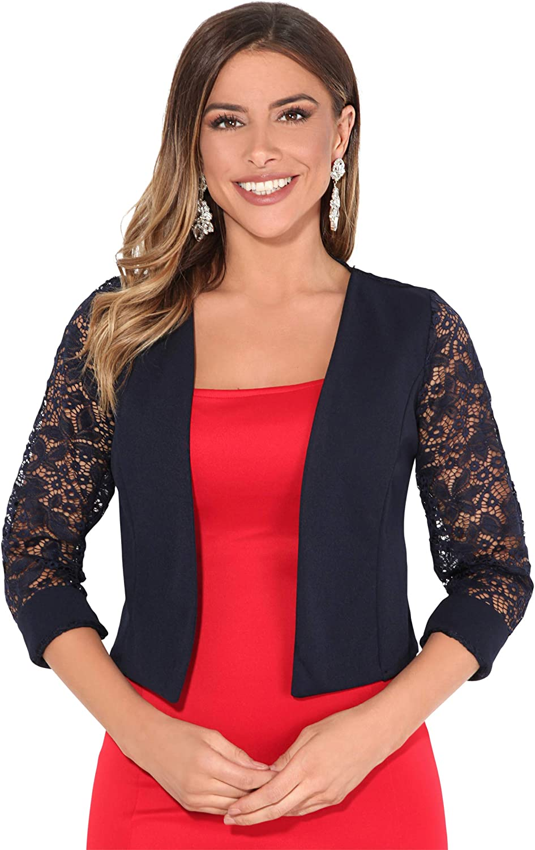 KRISP® Women Cropped Jacket Open Shrug 3/4 Sleeve Bolero Evening Blouse