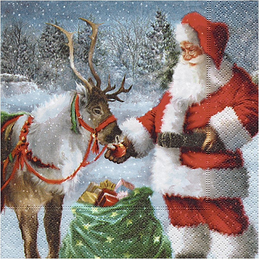 4 x SINGLE SANTA AND RUDOLPH CHRISTMAS 3 PLY PAPER NAPKINS DECOUPAGE,CRAFTING, DINING, PAPER DESIGN TABLETOP